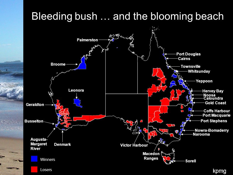 kpmg Bleeding bush … and the blooming beach Broome Narooma Victor Harbour Denmark Augusta- Margaret River Geraldton Busselton Nowra-Bomaderry Port Stephens Port Macquarie Coffs Harbour Gold Coast Caloundra Noosa Hervey Bay Yeppoon Whitsunday Townsville Cairns Port Douglas Sorell Palmerston Leonora Macedon Ranges Losers Winners