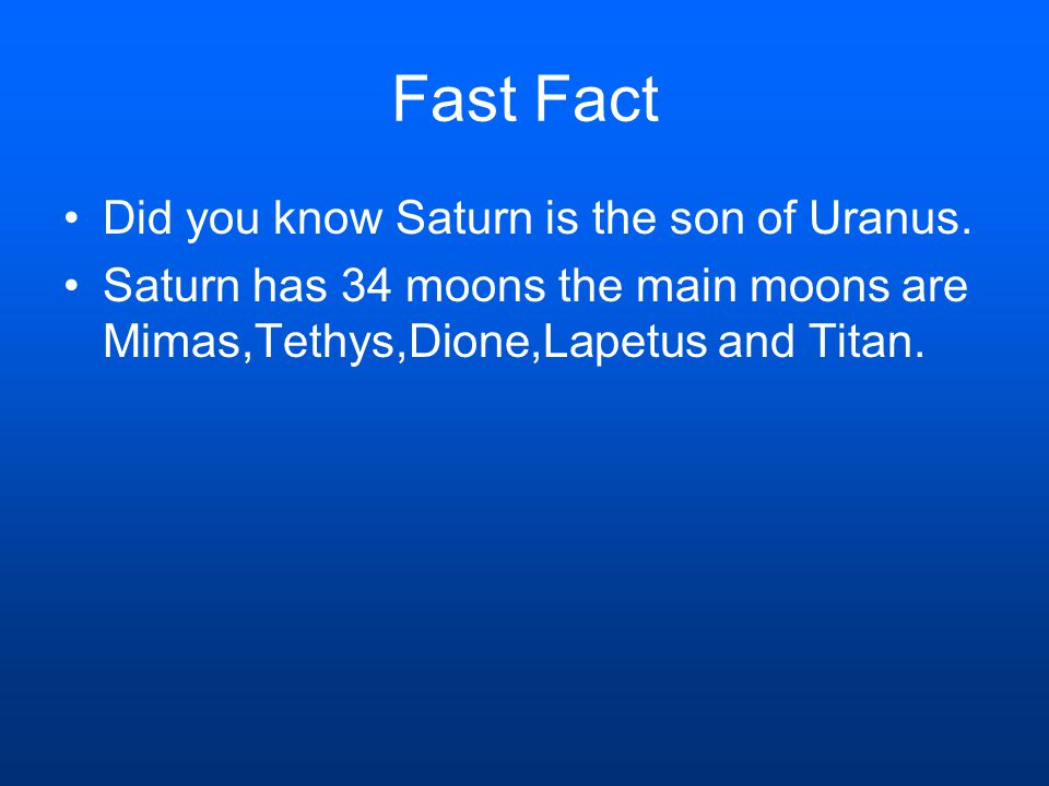 Fast Fact Did you know Saturn is the son of Uranus.