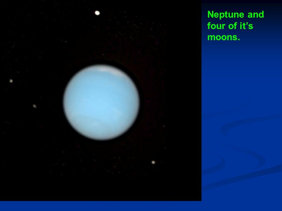 Neptune and four of it's moons.