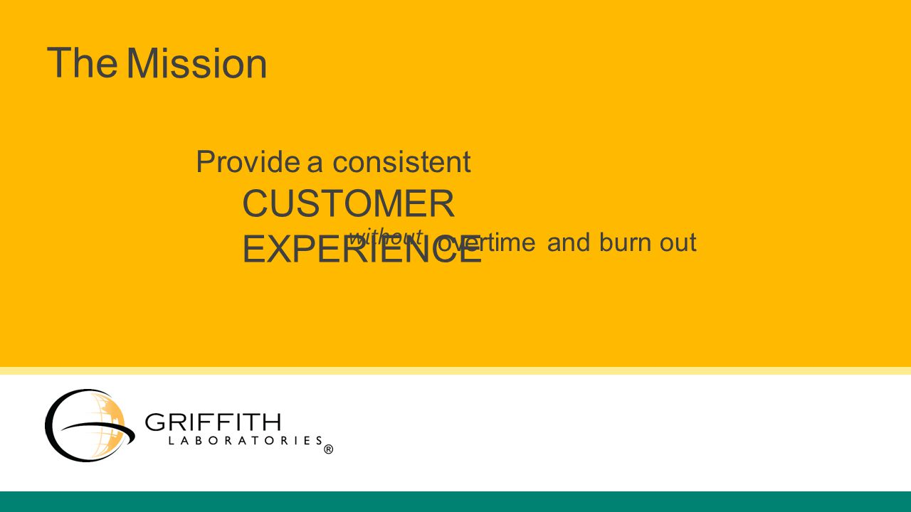 Mission The Provide a consistent CUSTOMER EXPERIENCE without overtime and burn out