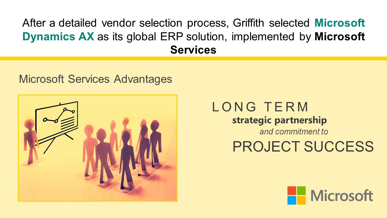 After a detailed vendor selection process, Griffith selected Microsoft Dynamics AX as its global ERP solution, implemented by Microsoft Services LONG TERM Microsoft Services Advantages strategic partnership and commitment to PROJECT SUCCESS