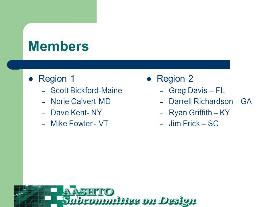 Members Region 1 – Scott Bickford-Maine – Norie Calvert-MD – Dave Kent- NY – Mike Fowler - VT Region 2 – Greg Davis – FL – Darrell Richardson – GA – Ryan Griffith – KY – Jim Frick – SC