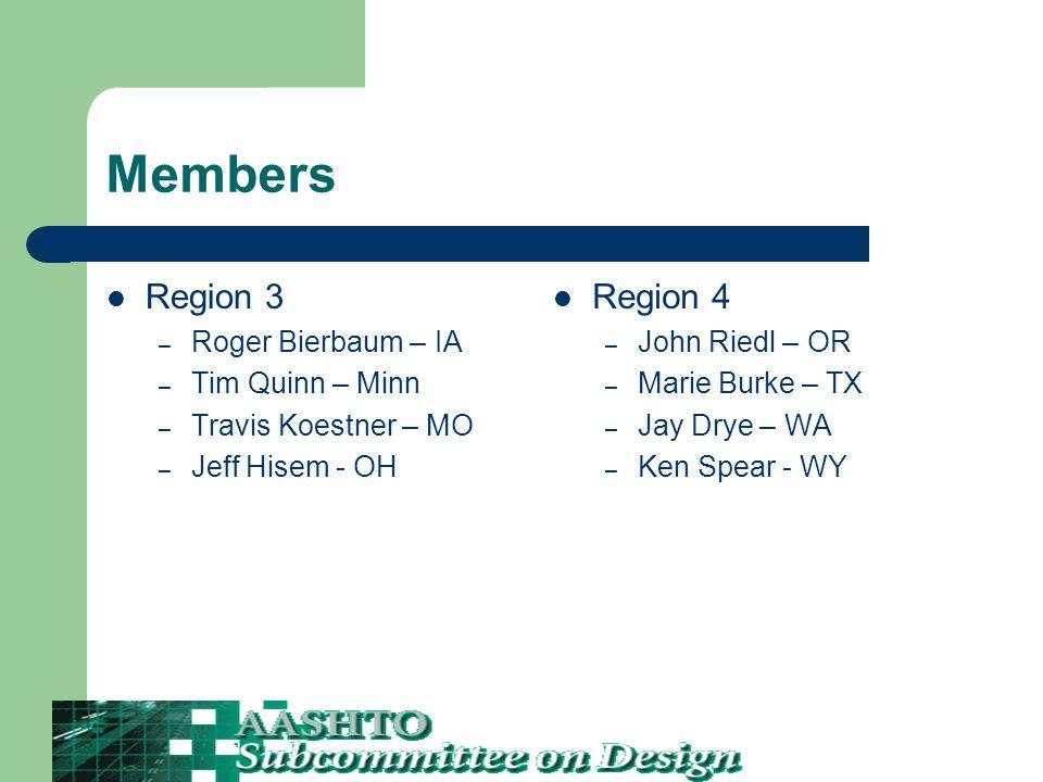 Members Region 3 – Roger Bierbaum – IA – Tim Quinn – Minn – Travis Koestner – MO – Jeff Hisem - OH Region 4 – John Riedl – OR – Marie Burke – TX – Jay Drye – WA – Ken Spear - WY