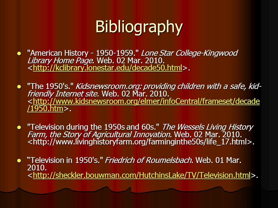 Bibliography American History - 1950-1959. Lone Star College-Kingwood Library Home Page.
