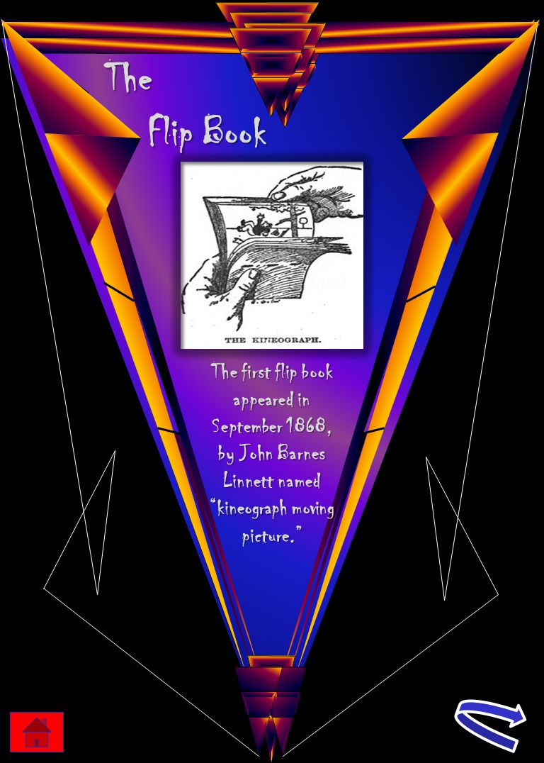 """The Flip Book The first flip book appeared in September 1868, by John Barnes Linnett named """"kineograph moving picture."""""""