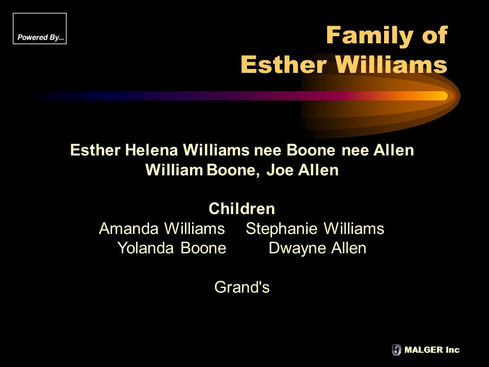 MALGER Inc Family of Esther Williams Esther Helena Williams nee Boone nee Allen William Boone, Joe Allen Children Amanda WilliamsStephanie Williams Yo