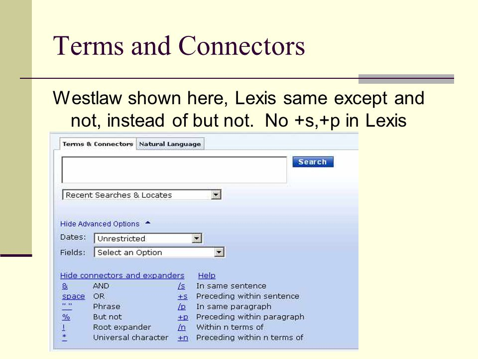 Lexis Terms and Connectors