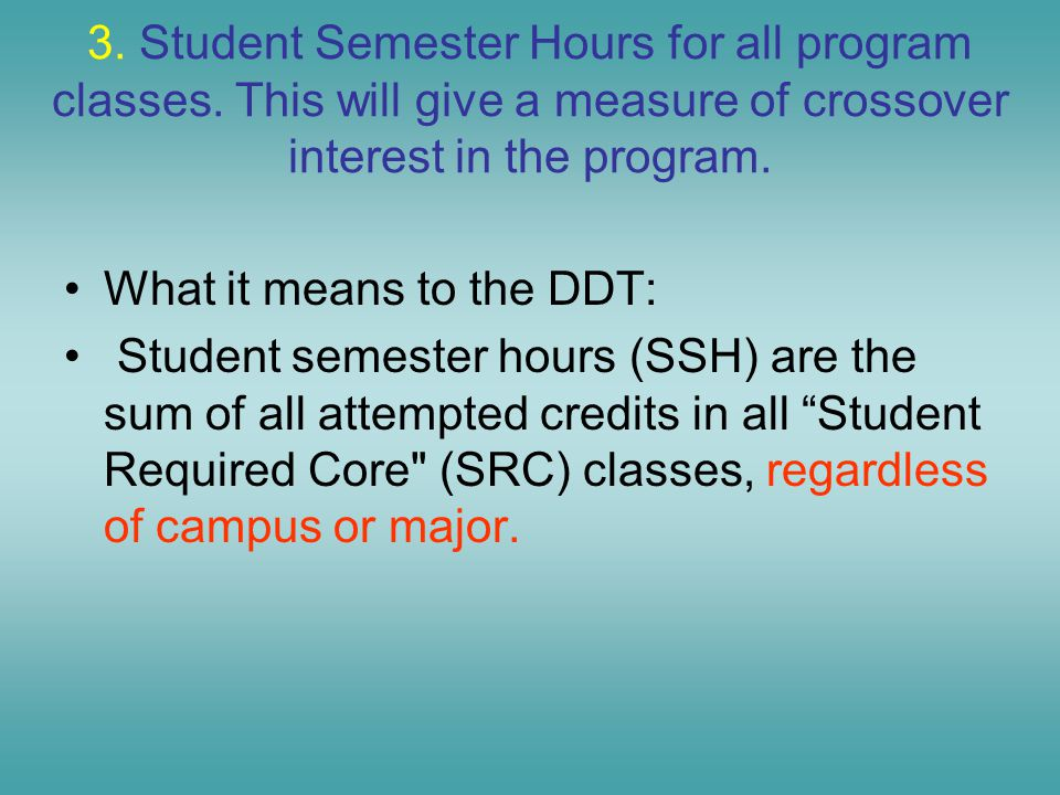 3. Student Semester Hours for all program classes.