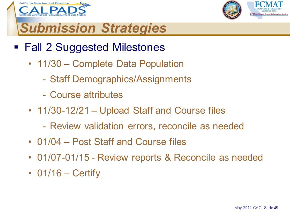 May 2012 CAG, Slide 49 Submission Strategies  Fall 2 Suggested Milestones 11/30 – Complete Data Population -Staff Demographics/Assignments -Course at