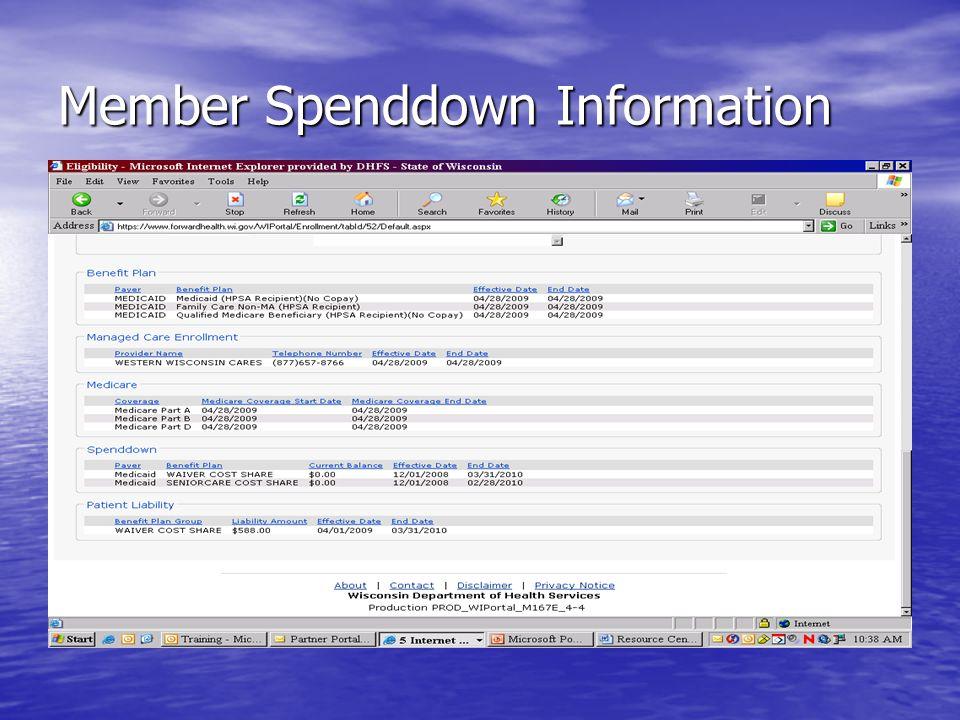 Member Spenddown Information