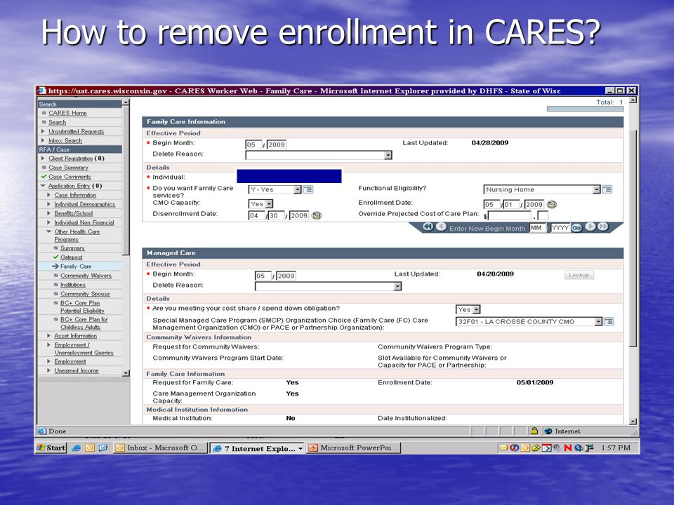 How to remove enrollment in CARES
