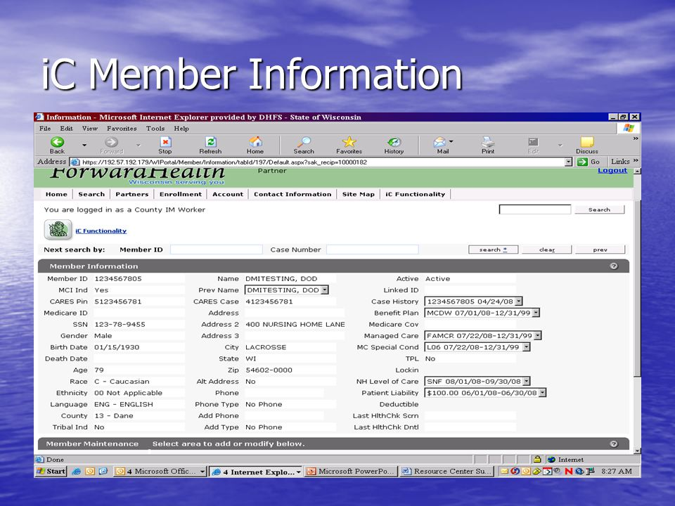 iC Member Information