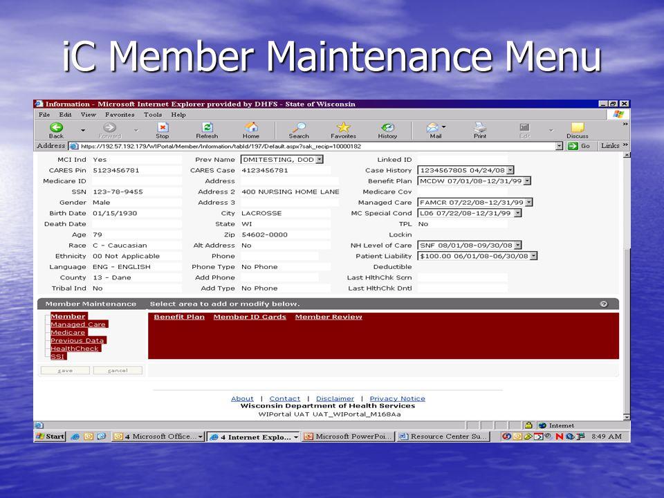 iC Member Maintenance Menu