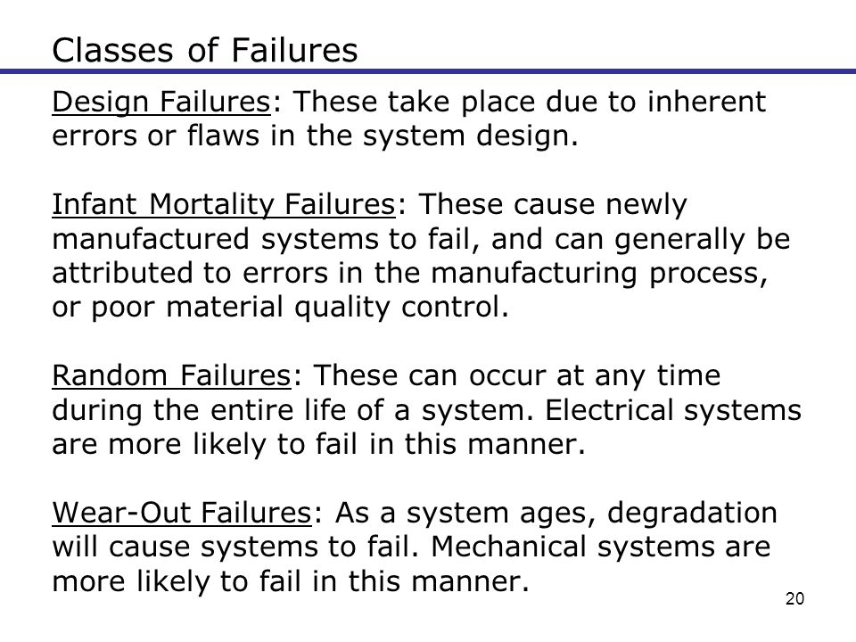 20 Classes of Failures Design Failures: These take place due to inherent errors or flaws in the system design. Infant Mortality Failures: These cause