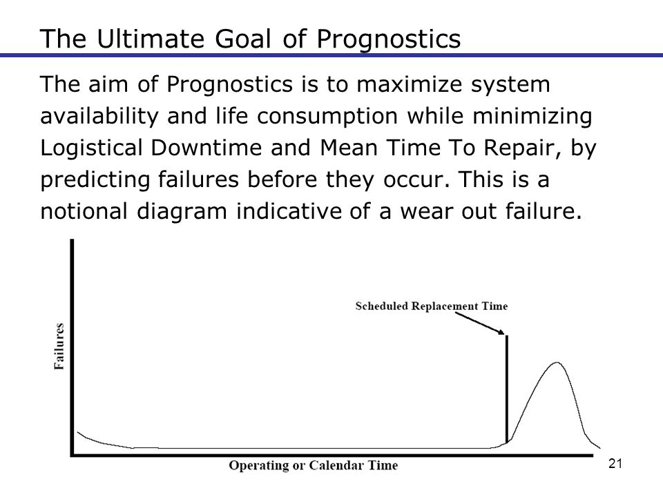 21 The Ultimate Goal of Prognostics The aim of Prognostics is to maximize system availability and life consumption while minimizing Logistical Downtim