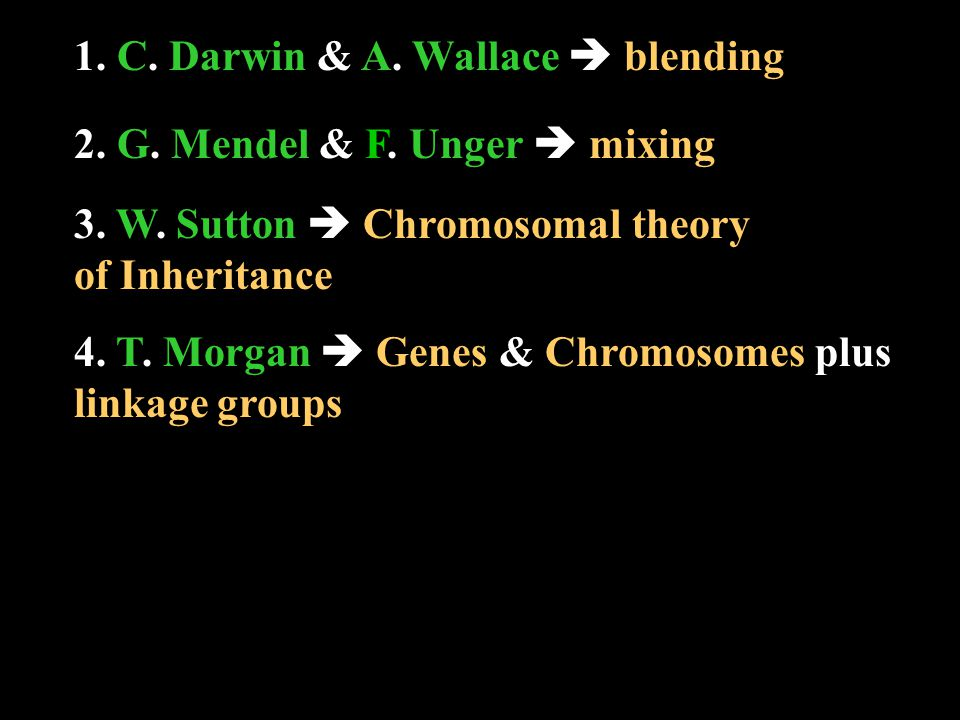 5.A. A. Sturtevant  genetic mapping 6. F. F. Griffith  hereditary molecule 7.
