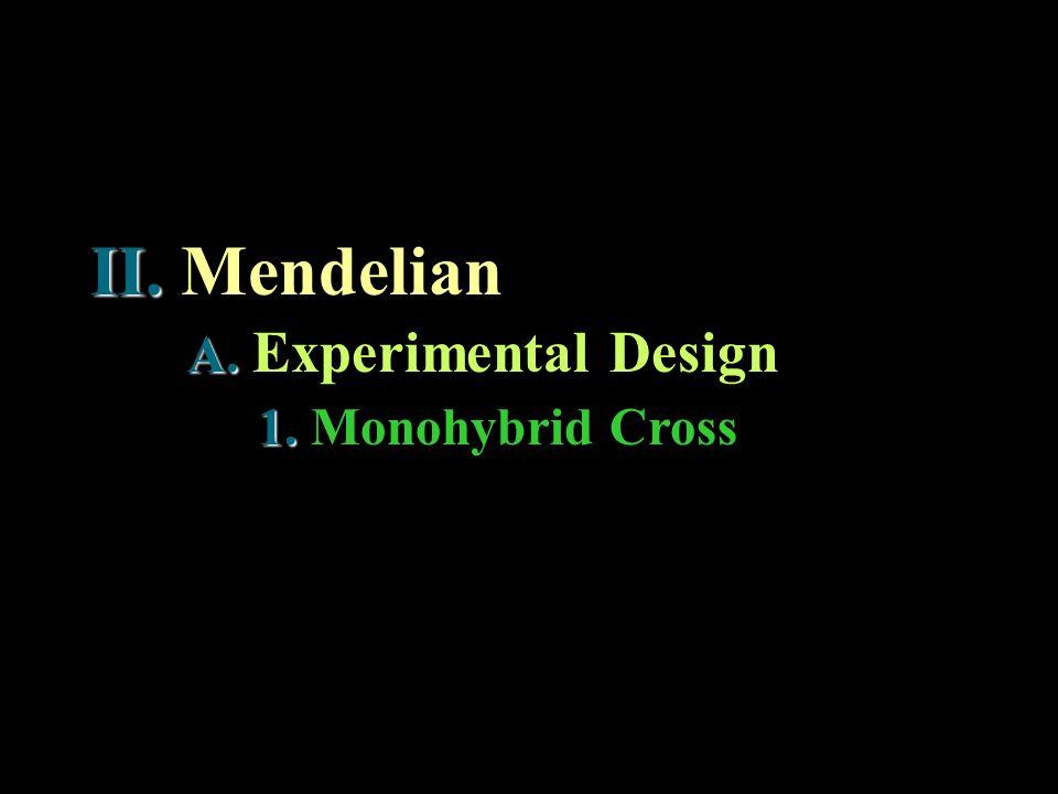 II. Mendelian 1. 1. Monohybrid Cross A. A. Experimental Design