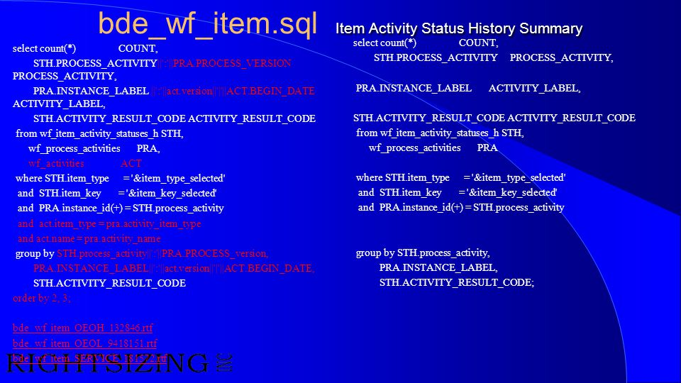 Item Activity Status History Summary bde_wf_item.sql Item Activity Status History Summary select count(*) COUNT, STH.PROCESS_ACTIVITY||':'||PRA.PROCES