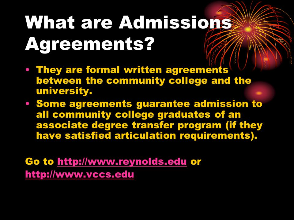 What are Admissions Agreements.