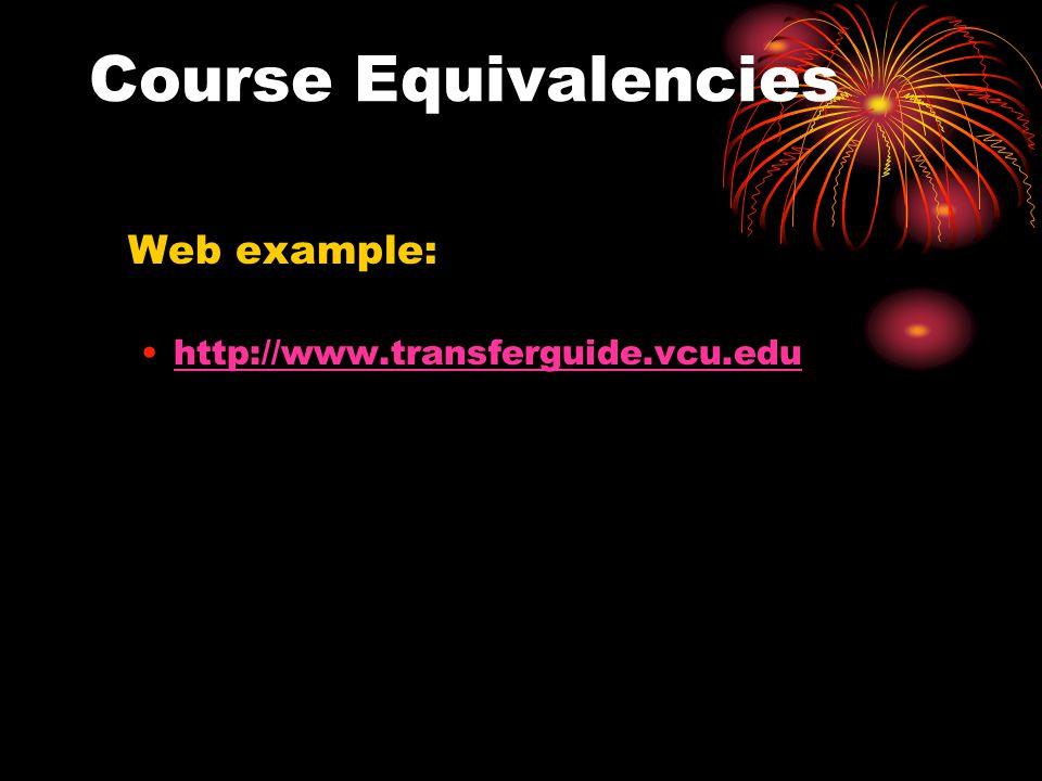 Course Equivalencies Web example: http://www.transferguide.vcu.edu