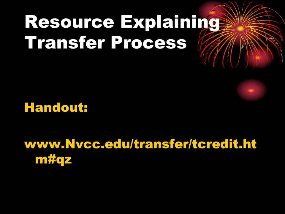 Resource Explaining Transfer Process Handout: www.Nvcc.edu/transfer/tcredit.ht m#qz