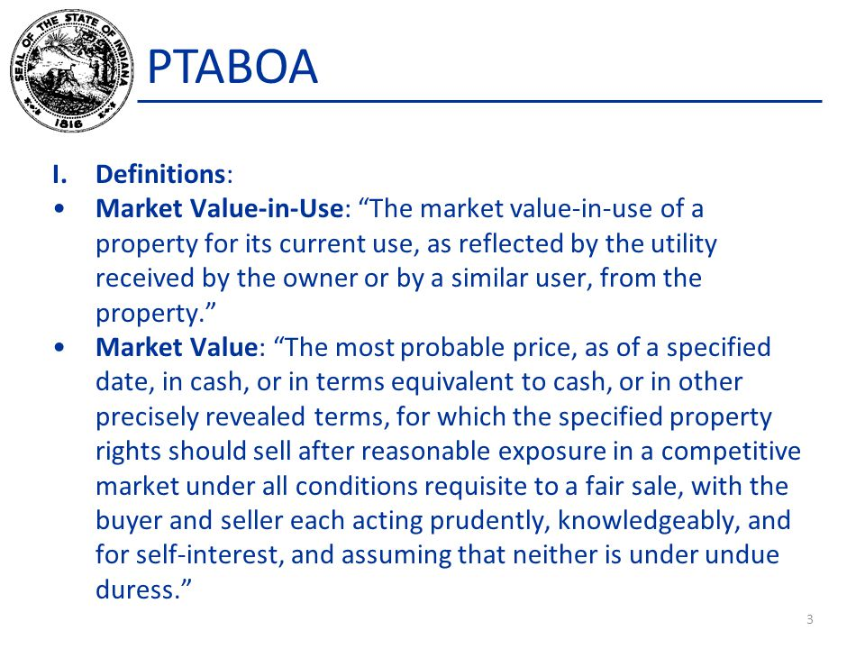PTABOA True Tax Value: In the case of agricultural land, the value determined in accordance with the Guidelines adopted by the Department of Local Government Finance.