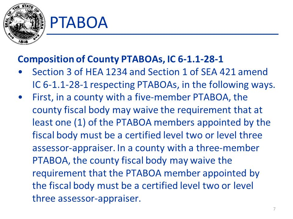 PTABOA (2)The forms that must be filed for an appeal of the assessment or reassessment.