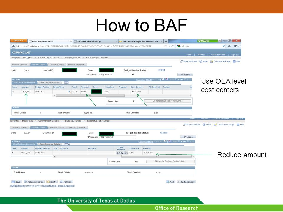 How to BAF Use OEA level cost centers Reduce amount
