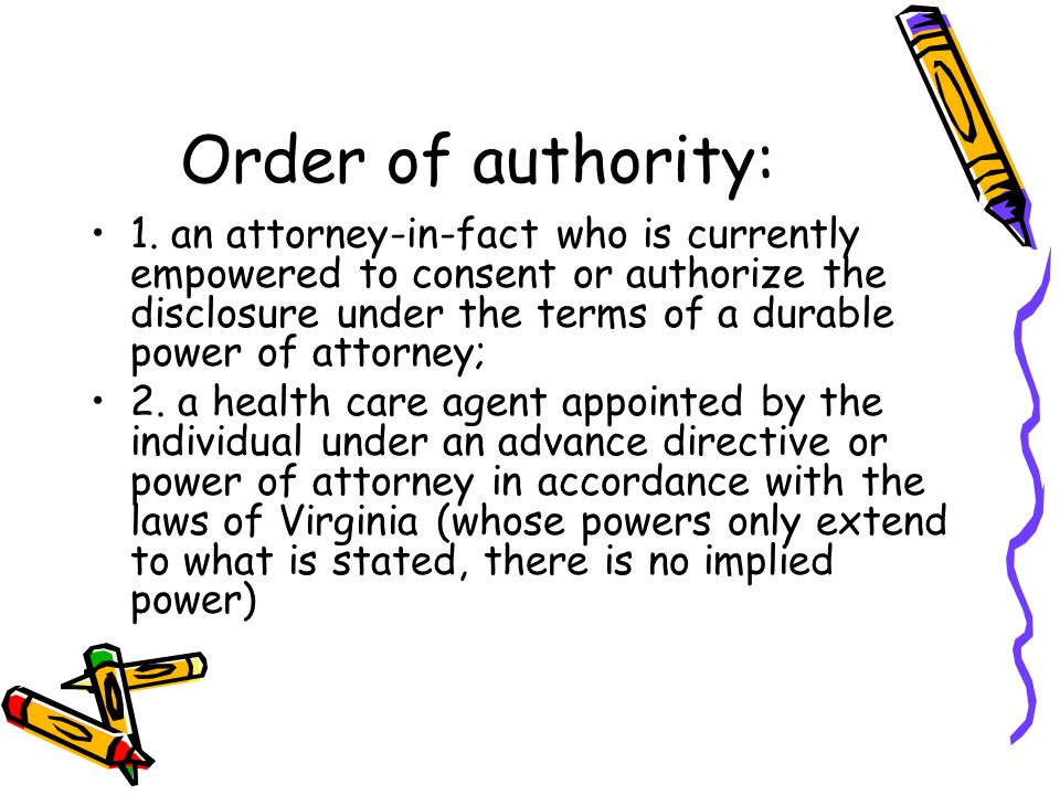 Order of authority: 1.