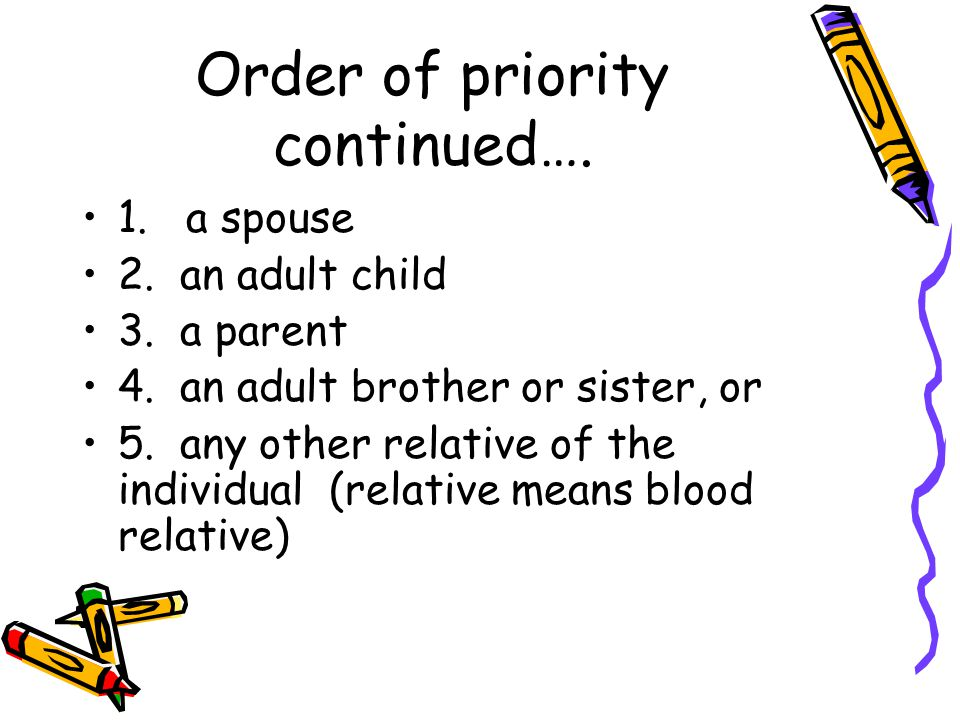 Order of priority continued…. 1. a spouse 2. an adult child 3.
