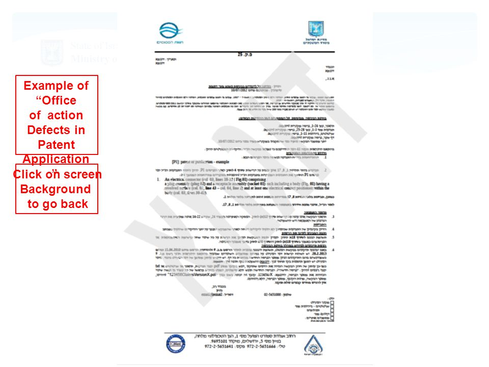 Click on screen Background to go back Example of Office action of Defects in Patent Application