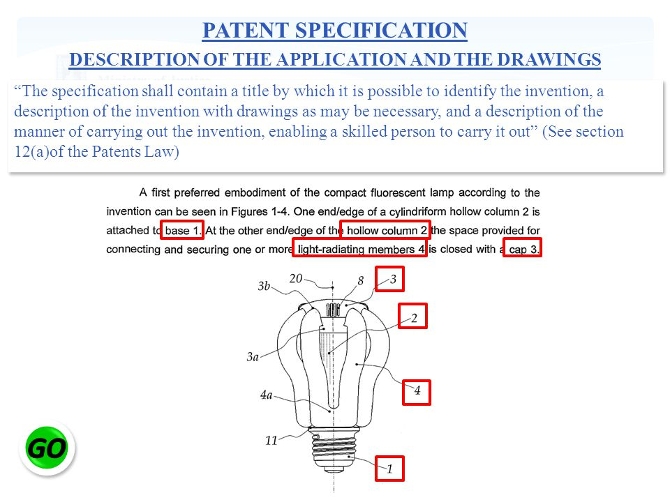 PATENT SPECIFICATION DESCRIPTION OF THE APPLICATION AND THE DRAWINGS The specification shall contain a title by which it is possible to identify the invention, a description of the invention with drawings as may be necessary, and a description of the manner of carrying out the invention, enabling a skilled person to carry it out (See section 12(a)of the Patents Law)