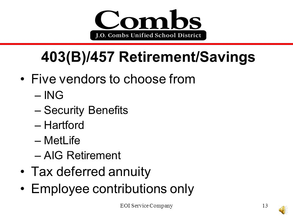 EOI Service Company12 Arizona State Retirement System The employee contributes 11.15% of income to the plan.