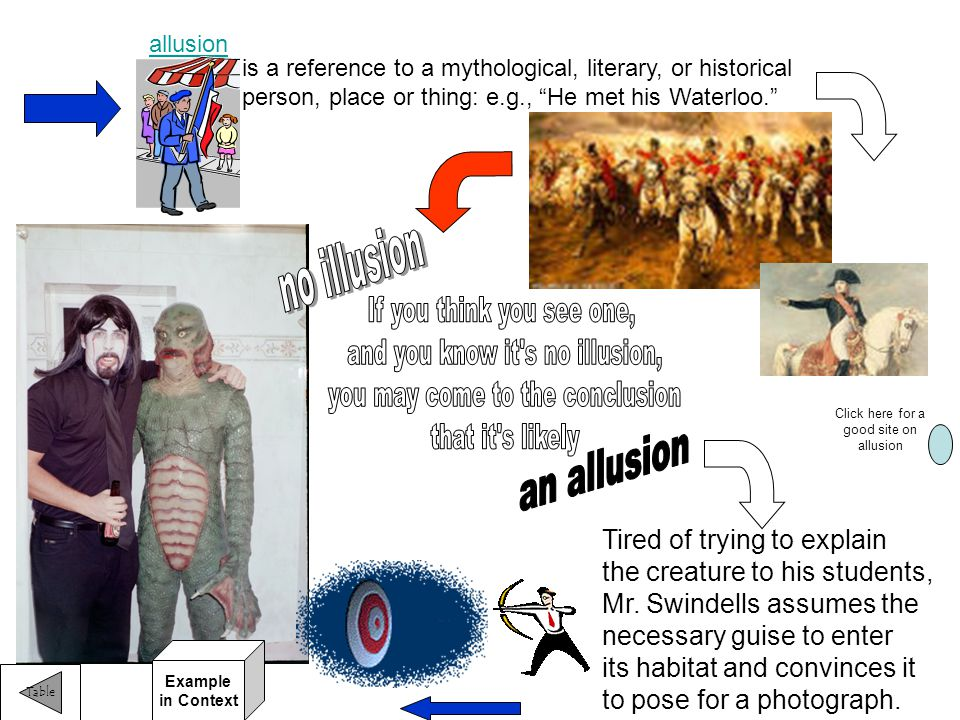 allusion Tired of trying to explain the creature to his students, Mr.