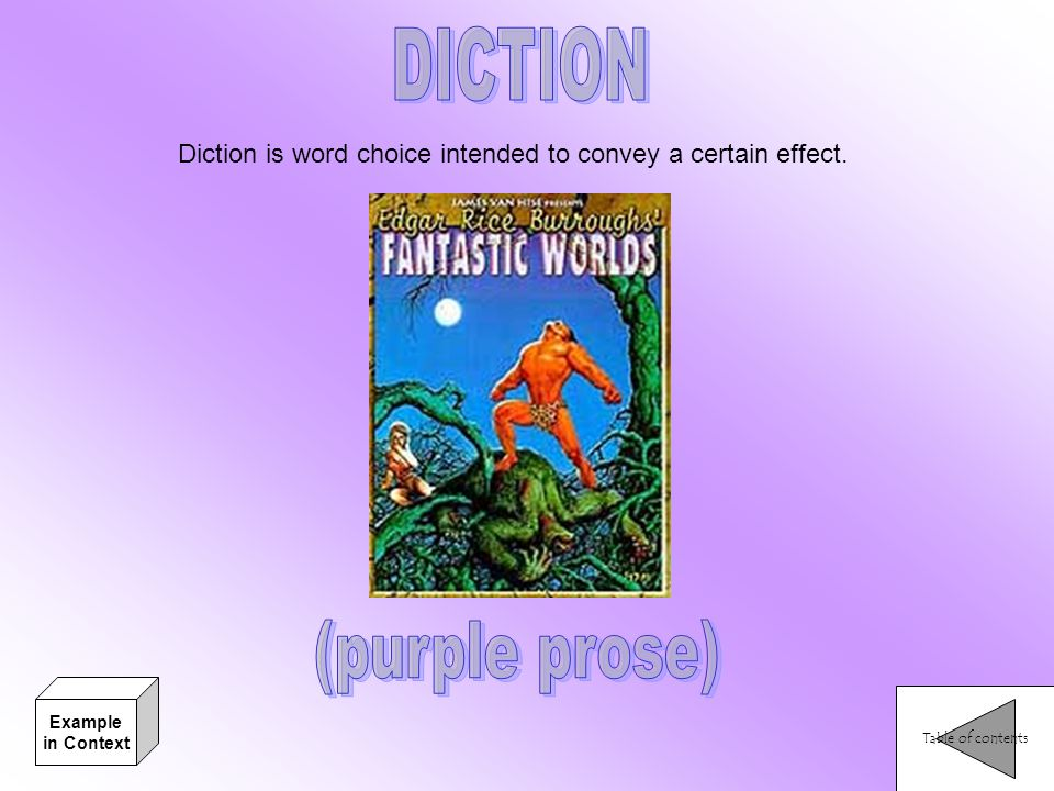 Diction is word choice intended to convey a certain effect. Table of contents Example in Context