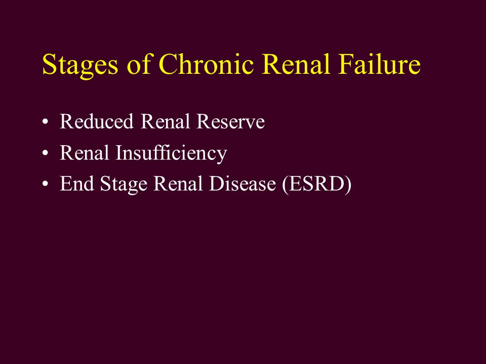 Stages of Chronic Renal Failure Reduced Renal Reserve Renal Insufficiency End Stage Renal Disease (ESRD)