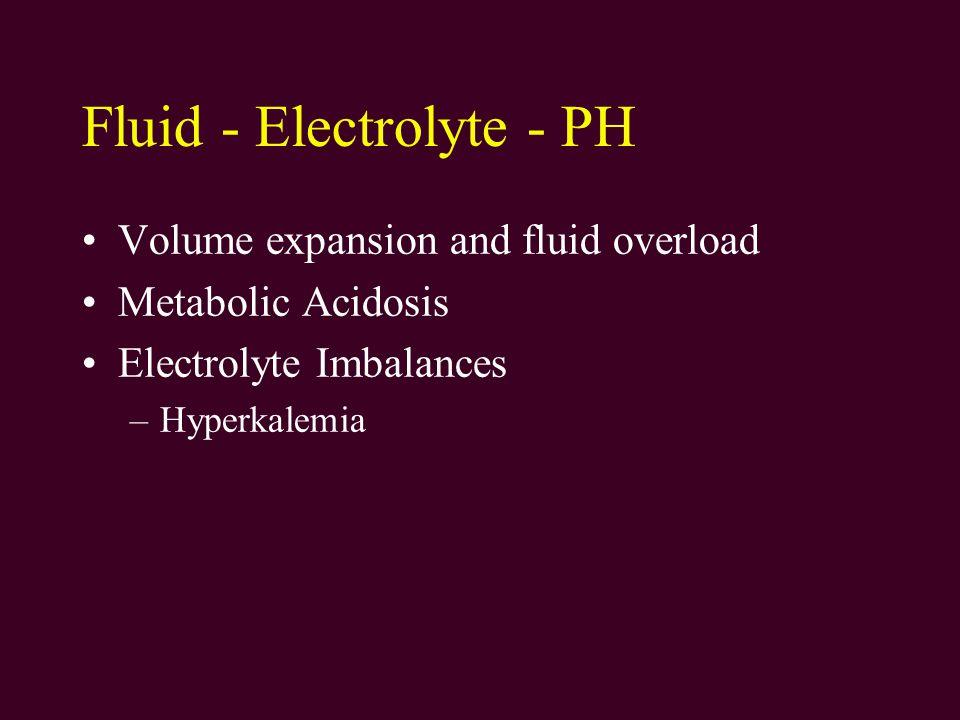 Fluid - Electrolyte - PH Volume expansion and fluid overload Metabolic Acidosis Electrolyte Imbalances –Hyperkalemia