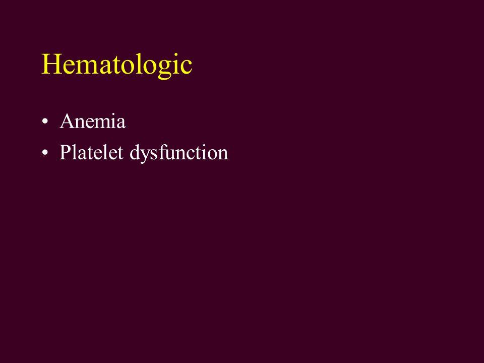 Hematologic Anemia Platelet dysfunction