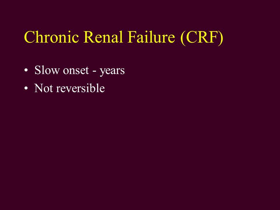 Causes of Chronic Renal Failure Diabetes Hypertension Glomerulonephritis Cystic disorders Developmental - Congenital Infectious Disease