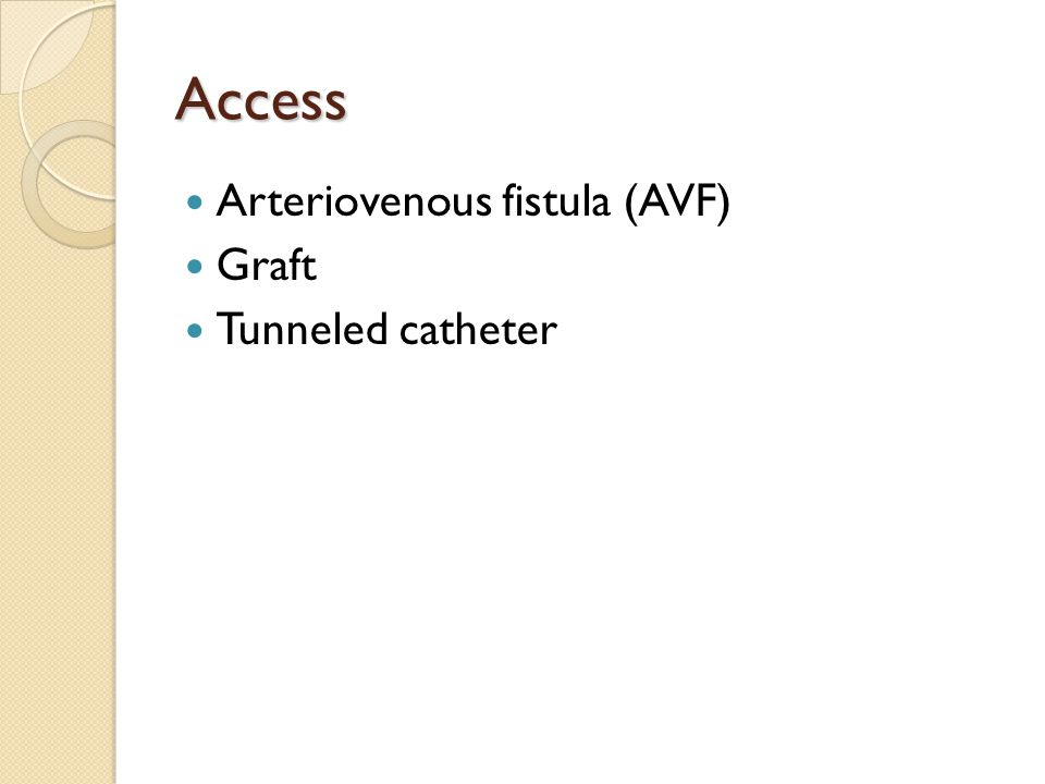 Access Arteriovenous fistula (AVF) Graft Tunneled catheter