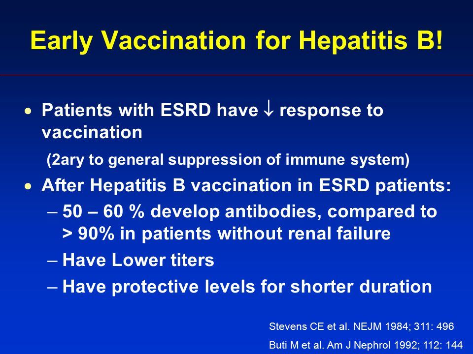Early Vaccination for Hepatitis B.