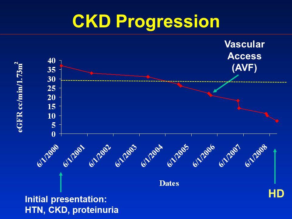 CKD Progression Initial presentation: HTN, CKD, proteinuria HD Vascular Access (AVF)