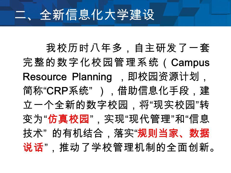 二、全新信息化大学建设 我校历时八年多,自主研发了一套 完整的数字化校园管理系统( Campus Resource Planning ,即校园资源计划, 简称 CRP 系统 ),借助信息化手段,建 立一个全新的数字校园,将 现实校园 转 变为 仿真校园 ,实现 现代管理 和 信息 技术 的有机结合,落实 规则当家、数据 说话 ,推动了学校管理机制的全面创新。
