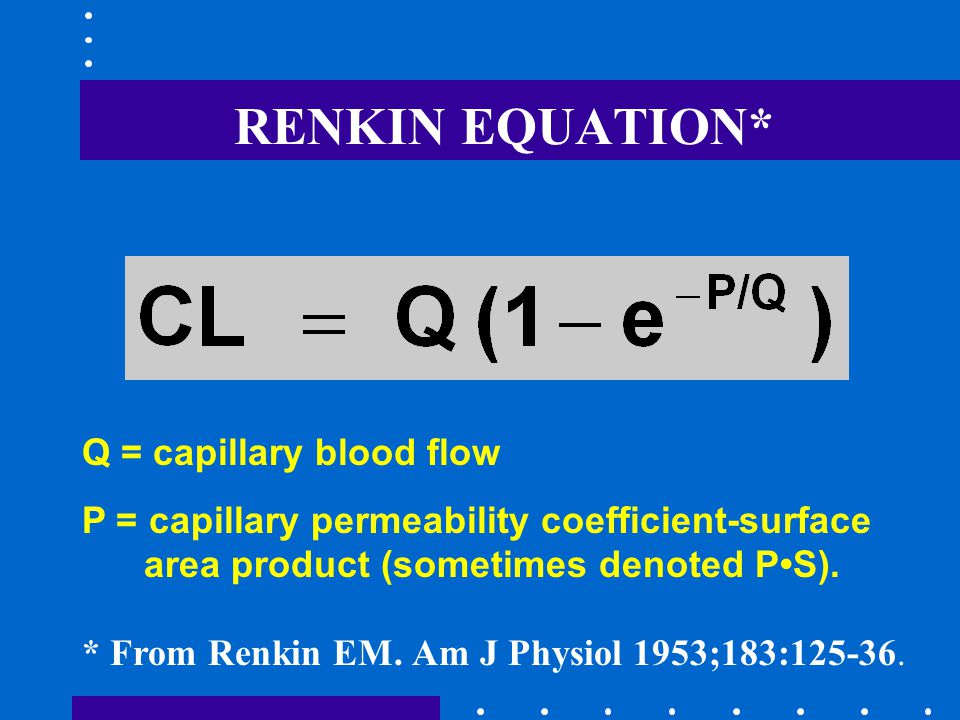 RENKIN EQUATION* * From Renkin EM. Am J Physiol 1953;183:125-36.