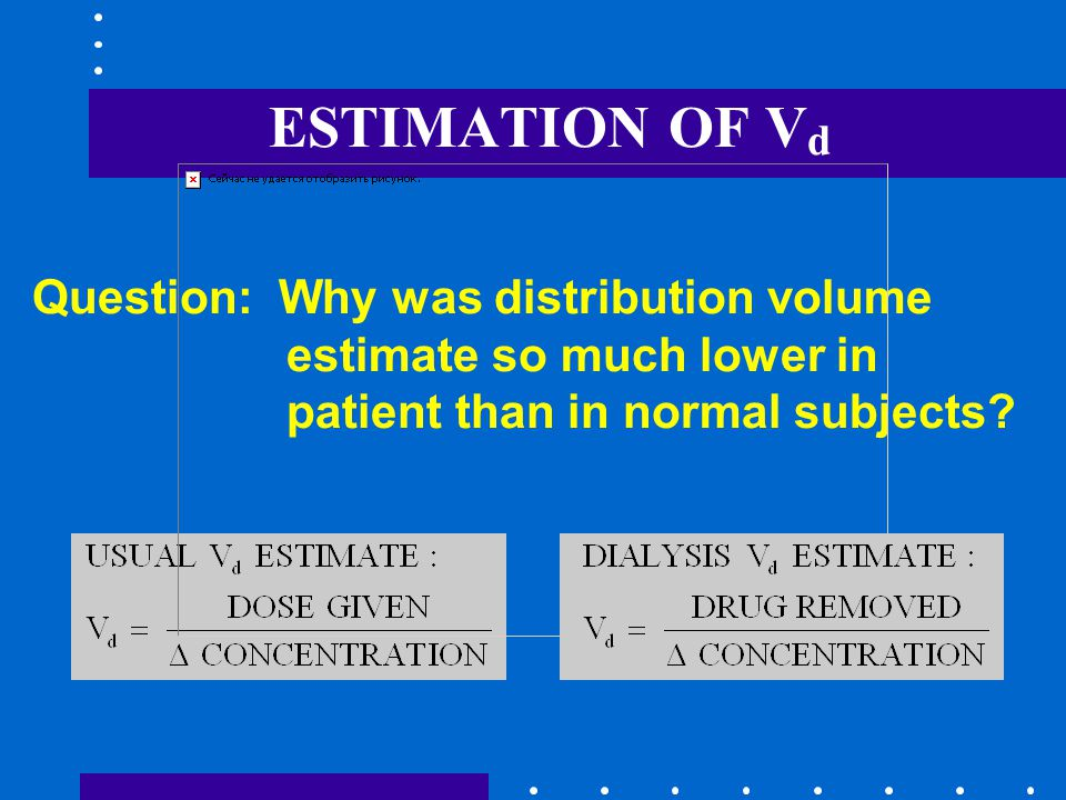 ESTIMATION OF V d Question: Why was distribution volume estimate so much lower in patient than in normal subjects