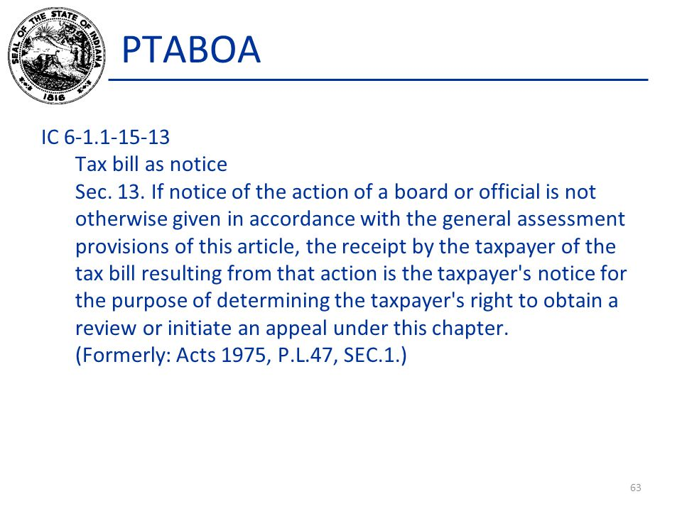 PTABOA IC 6-1.1-15-13 Tax bill as notice Sec. 13.