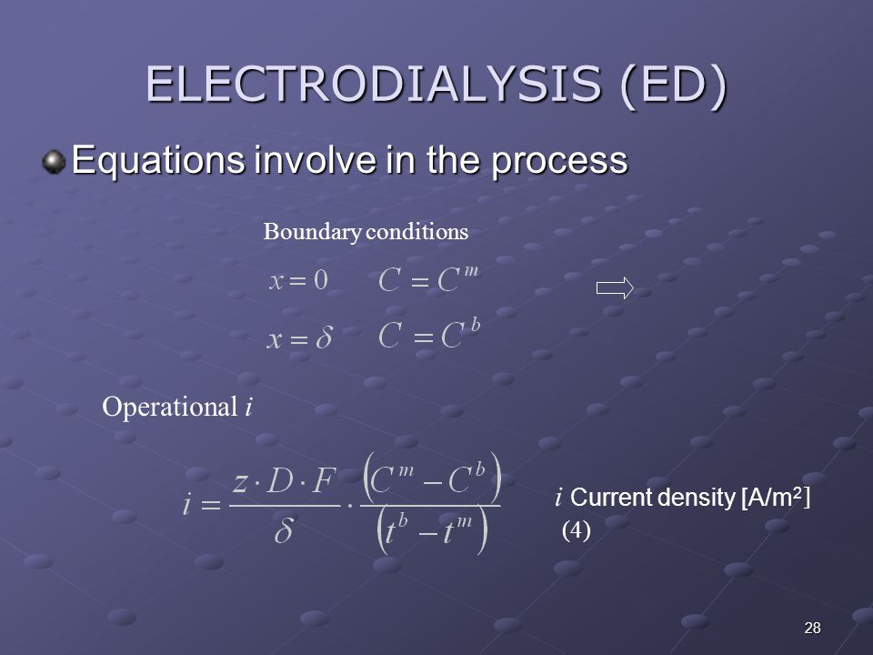 28 Boundary conditions Operational i Equations involve in the process ELECTRODIALYSIS (ED) i Current density [A/m 2 [ (4)
