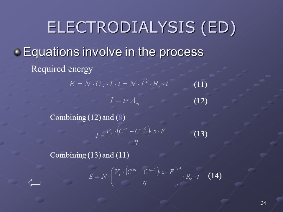 34 ELECTRODIALYSIS (ED) Equations involve in the process Required energy (12) (11) Combining (12) and (8)8 (13) Combining (13) and (11) (14)