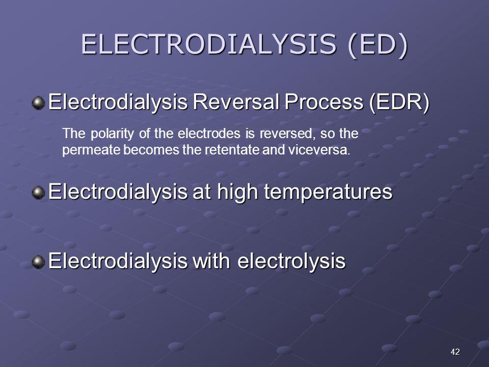 42 Electrodialysis Reversal Process (EDR) ELECTRODIALYSIS (ED) Electrodialysis at high temperatures Electrodialysis with electrolysis The polarity of