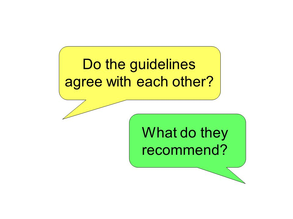Do the guidelines agree with each other What do they recommend